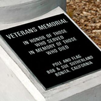 Sweetwater Valley Civic Association Veteran's Memorial plaque